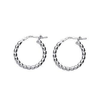 Jewelco London Ladies Rhodium Plated Sterling Silver # Bead Hoop Oorbellen 18mm 2mm