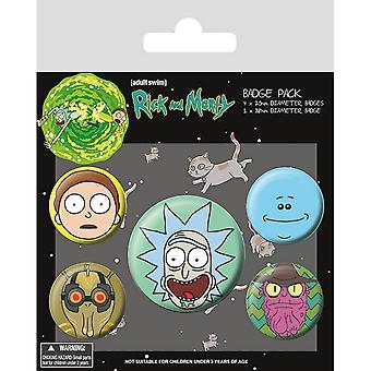 Rick And Morty Heads Badge Set (Pack de 5)