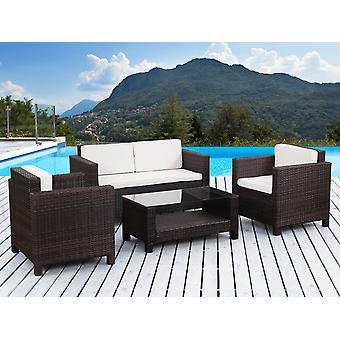 """Salón de jardín en resina trenzada """"Ottawa"""" - 1 sofá + 2 sillones + 1 mesa de centro"""