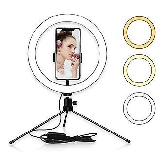 10inch Table LED Ring Light 3200-5600K 3 Colors 10 Levels Brightness Adjustable with Tripod Stand
