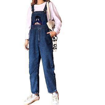 Femei Salopete Moda Loose Jeans Pantaloni High Waist Coreeană Versiune