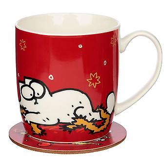 Kerst porseleinen mok & onderzetter set - simon's cat