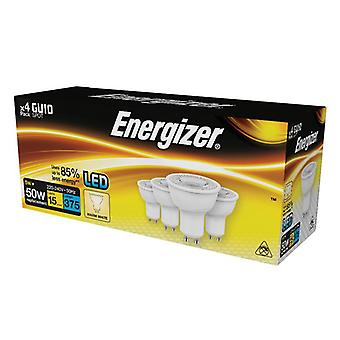 Energizer® LED GU10 50° Non-Dimmable Bulb, Warm White 375 lm 5W (Pack 4) S14425
