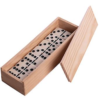 Double Six Domino Set - 28-delt dominobrikker med treboks | Pukkr