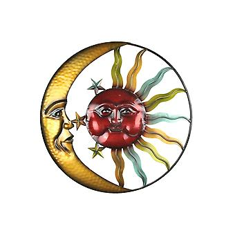 Colorful Gloss Painted Metal Art Celestial Sun and Moon Indoor Outdoor Wall Hanging 20 Inch Diameter