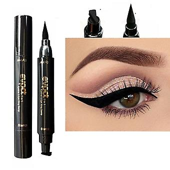 Double-head Liquid Eyeliner With Stamp Eye Pencil