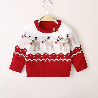 Newborn Baby Knitted Sweaters, Winter Warm Long Sleeve, Deer Print Top