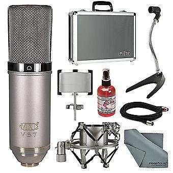 Mxl v67g he heritage edition stor kapsel kondensor mikrofon bunt med stativ + sanitizer + kabel + fibertique trasa