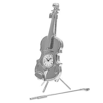 GTP Miniature Unisex Chrome Plated on Alloy Violin With Bow & Stand Novelty Collectors Mantle Piece Shelf Clock IMP84/S