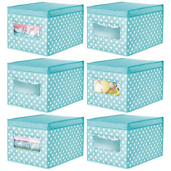 mDesign Set of 6 Large Soft Storage Box  Fabric Wardrobe Organiser  Neat Storage Cube for a Tidy Home