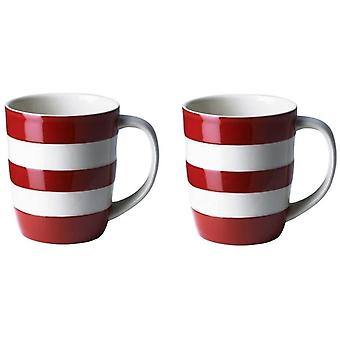 DZK Red and White Stripe Set of 2 Coffee Cups Mugs, 12oz