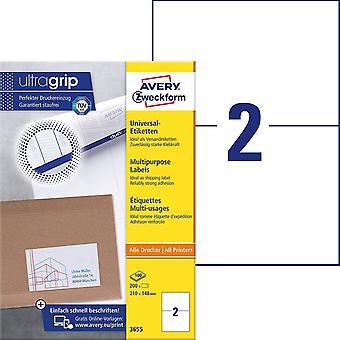HanFei 3655 Universal Etiketten (200 Klebeetiketten, 210x148mm auf A4, bedruckbare Versandetiketten,