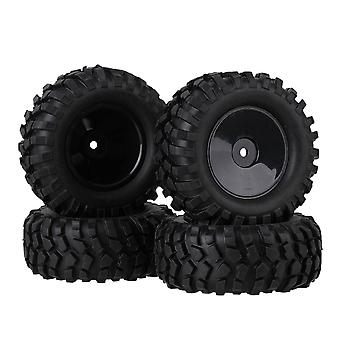 4PCS rubberbanden en platte schijf plastic velgen zwart voor RC1:10 Rock Crawler