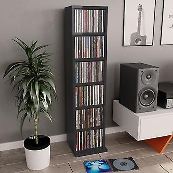 vidaXL CD шкаф глянцевый черный 21x20x88 см ДСП