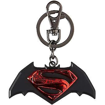 Batman v Superman Stacked Symbol Pewter Keychain