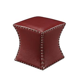 Taburete cuadrado tapizado con cabeza de clavo Otomano (rojo)