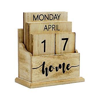 Calendario perpetuo vintage de madera en madera | M&W