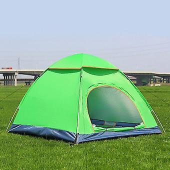 3-4 People 3 IN 1 Outdoor Automatic Rainproof Camping Tent Double Door Tent(green)