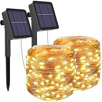 FengChun [2 Stck] Solar Lichterkette Aussen, 12M 120 LED Lichterkette Auen Wasserdicht KupferDraht