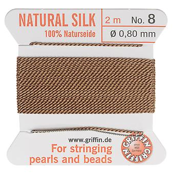 Griffin Silk Beading Cord & Needle, Size 8 (0.8mm), 2 Meters, Beige