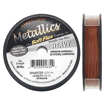 Soft Flex Metallics, 49 Strand Heavy Beading Wire .024 Inch Thick, 30 Feet, Copper Color