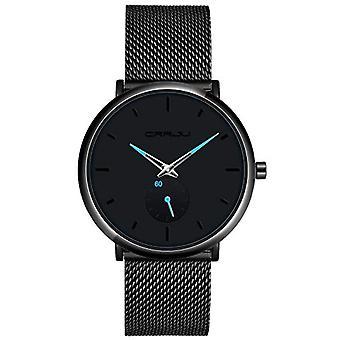 SUPBRO Minimalist quartz thin men's watches with black mesh strap(6)