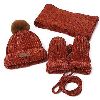 Children Three-piece Hats Scarf Gloves Set