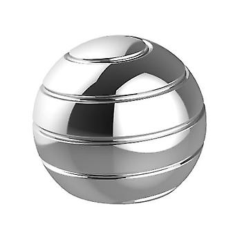 Silver fully disassembled rotating desktop ball transfer top fingertip decompression toy x1962