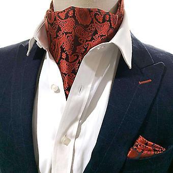 Kirkkaanpunainen paisley cravat & pocket square -setti