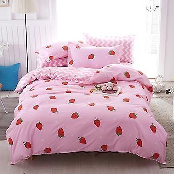 Cartoon Pink Love Symbol Bedding Sets 3/4pcs Duvet Cover Bed Sheet Pillowcase (
