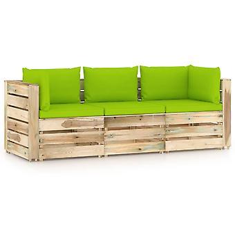 vidaXL 3-zits tuinbank met kussen Groen Geïmpregneerd hout