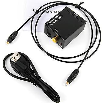 Protable Jack Coaxial Fibră optică, Digital to Analog, Audio Aux Rca, Decodor