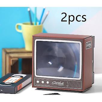 Creative retro tv amplifier hd mobile phone 3d video amplifier closed reflective design(Default2pcs)