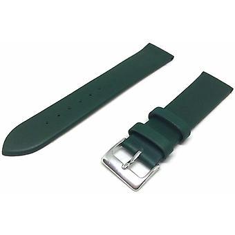 (22mm) Telecí kožený řemínek zelený s chromovanou sponou velikosti 12 mm až 30 mm