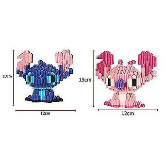2pcs Miniature Lego Building Blocks Tre-dimensionelle Børns Voksen Samling Legetøj (Stitch2)