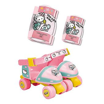 Children's Adjustable Quad Roller Skates with Elbow and Knee Protection Set