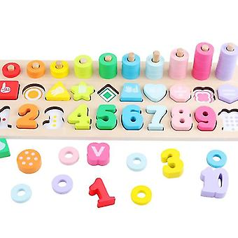 Preschool Wooden Montessori Toy Count Geometric Shape Cognition Match Baby Toy