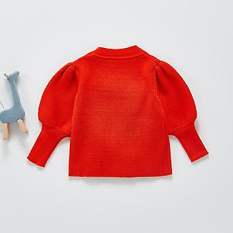 2021 Spring And Autumn Baby Girl Knitted Pullover Sweater Lantern Sleeve Knitted Top Toddler Girl Sweater