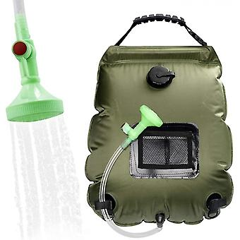 Outdoor Portable Solar Hot Water Bottle Washing Shower Bag 20l, Suitable For Camping Bathing And Bathing (military Green)