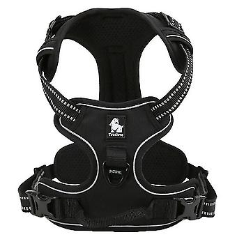 Black l no pull dog harness reflective adjustable with 2 snap buckles easy control handle mz1016