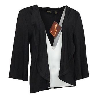 IMAN Global Chic Women's Sweater Reg 3/4-Sleeve Cardigan Black 752777