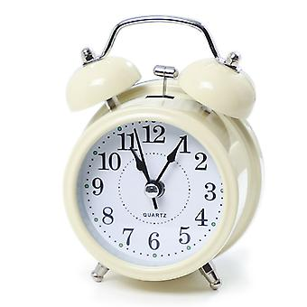 Alarm Clock Digital Clock Digital Alarm Clock Student Metal Bell With Small Alarm Clock (beige