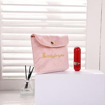 Mjuk och liten sammet kosmetisk väska för kvinnor, läppstift väska med spärr, sanitet pad arrangör, rese make-up väska, mini skönhetsfodral