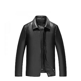 Men's Stand Collar Polyester Lined Bomber Genuine Leather Jacket Men's Leather Jacket