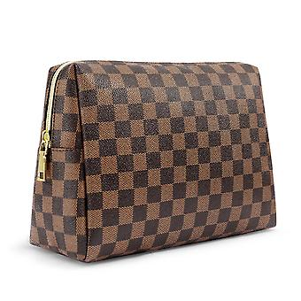 Checkered Makeup Bag Shell Shape Cosmetic Bags Hand-held Cosmetic Pouch Toiletry Travel Organizer For Women, Cosmetics, Make Up Tools, Toiletries
