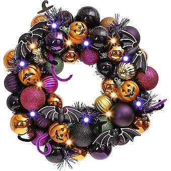 Pre-lit Halloween Ball Wreath For Front Door