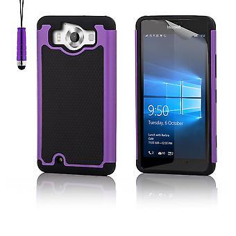 Shock proof case + stylus for Microsoft Lumia 950 - Purple