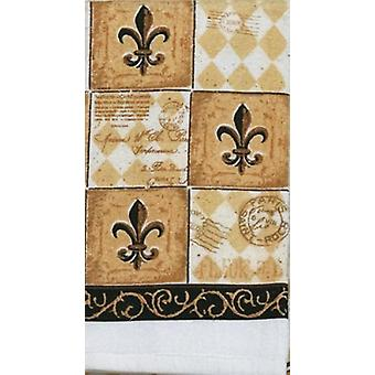 Kay Dee Majestic Black and Tan Fleur de Lis Kitchen Print Terry Tea Dish Towel