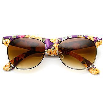أزياء النسائي الأزهار زهرة طباعة الإطار نصف القرن انعقدت النظارات الشمسية