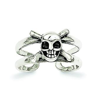 925 Sterling Silver Solid Antique finish Antiqued Skull Toe Ring Jewelry Gifts for Women - 2.0 Grams